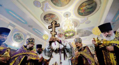 В канун праздника Воздвижения Креста Господня Святейший Патриарх Кирилл совершил утреню всенощного бдения